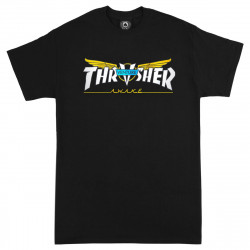 THRASHER, T-shirt venture collab ss, Black