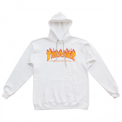 THRASHER, Sweat flame hood, White