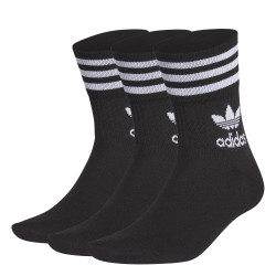 ADIDAS, Mid cut solid crew sock 3 pack, Black/white