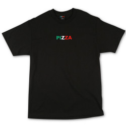 PIZZA, T-shirt tri logo, Black