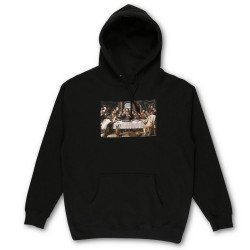 PIZZA, Sweat last supper hood, Black