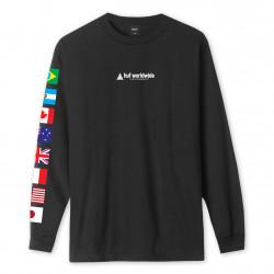 HUF, T-shirt flag union ls, Black