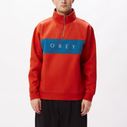 OBEY, Ian mock neck zip, Chili