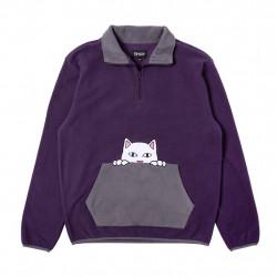 RIPNDIP, Peeking nerm brushed fleece half zip sweater, Purple / grey