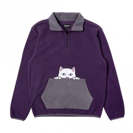 Peeking nerm brushed fleece half zip sweater - Purple / grey