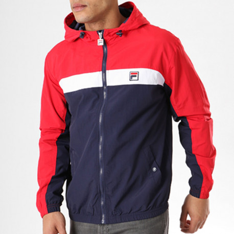 Clipper jacker panelled jacket - Peacoat-red-white