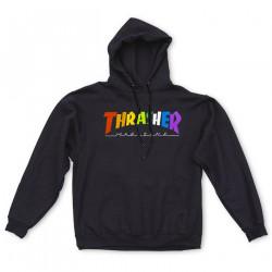 THRASHER, Sweat rainbow mag hood, Black