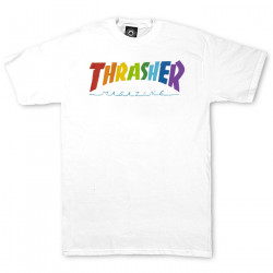 THRASHER, T-shirt rainbow mag ss, White
