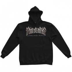 THRASHER, Sweat flame hood, Black black