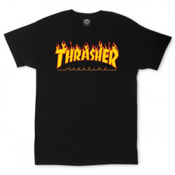 THRASHER, T-shirt flame logo, Black