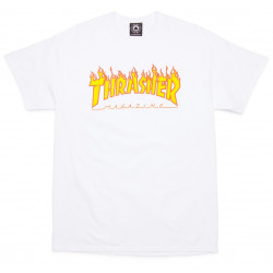 THRASHER, T-shirt flame logo, White