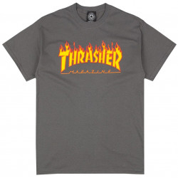 THRASHER, T-shirt flame logo, Charcoal