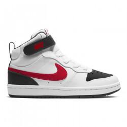 NIKE, Nike court borough mid 2, White/university red-black