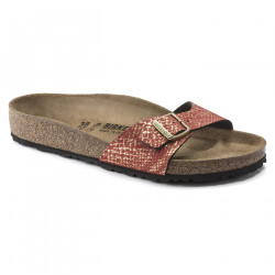BIRKENSTOCK, Madrid microfibre, Shiny python red / gold