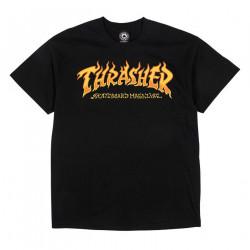 THRASHER, T-shirt fire logo ss, Black