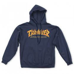 THRASHER, Sweat fire logo hood, Navy