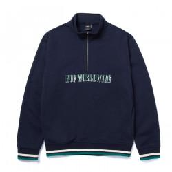 HUF, Sweat shadow serif 1-4 zip mockneck blazer, Navy