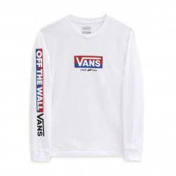 VANS, Easy logo ls boys, White