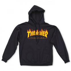 THRASHER, Sweat hood flame, Black