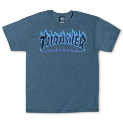 THRASHER, T-shirt flame logo, Dark heather